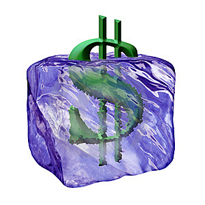Image Of The Sign Dollar In Cube Ice Royalty Free Stock Image - Image: 5635276