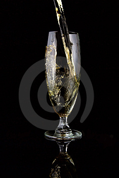 Glass Of Wine Poured Royalty Free Stock Image - Image: 5637986