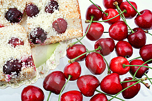Shortcake With A Cherries Royalty Free Stock Photos - Image: 5638158