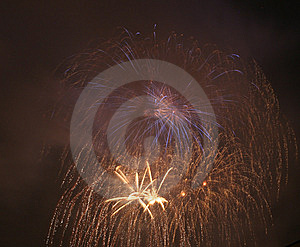 Fireworks In Darken Sky Royalty Free Stock Image - Image: 5639126