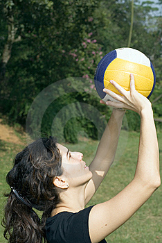 Woman In Park Playing Volleyball - Vertical Stock Image - Image: 5640951