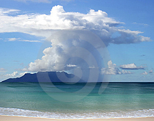 Beautiful rain, clouds, island Stock Photos