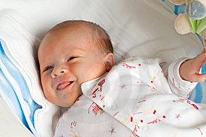 Six week baby with wince Free Stock Photos