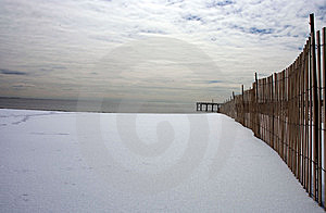Pier At Shore In Winter With Gloomy Sky Royalty Free Stock Photography - Image: 5656077