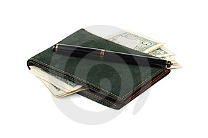 Wallet, Banknotes And Pen Stock Images - Image: 5657534