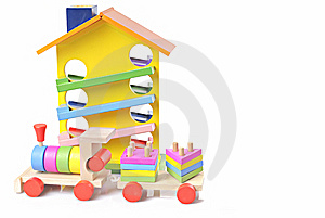 Toy Wooden Train And House Stock Images - Image: 5660064