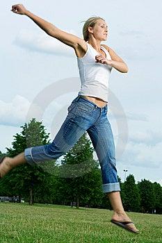 Jumping Woman. Stock Photo - Image: 5661240