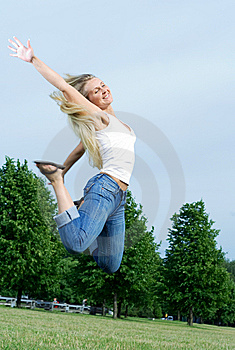 Happy Jumping Woman. Royalty Free Stock Photography - Image: 5661267