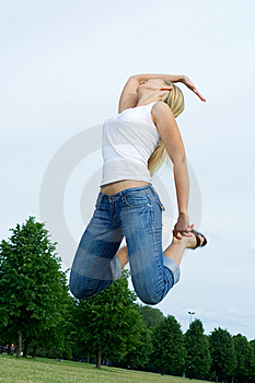 Happy Jumping Woman. Stock Images - Image: 5661284