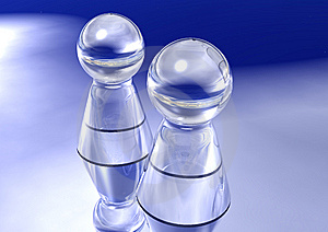 Two Glass Pawns Stock Photos