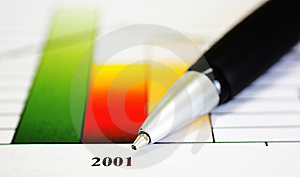 Bar Graph With Pen Stock Photos - Image: 5673053