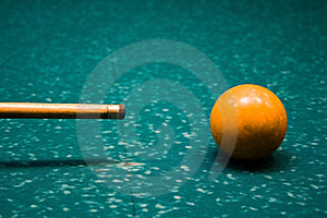 Billiard Cue And Yellow Sphere Royalty Free Stock Image - Image: 5677096