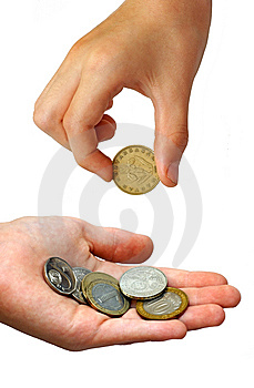 Hand Puting Coins In A Palm Royalty Free Stock Photography - Image: 5681347