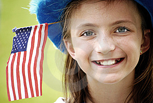 Smiling Girl With Flag Stock Image - Image: 5691001