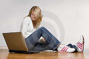 Prettygirl with laptop computer Stock Photo