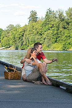 Couple Together On Dock - Vertical Stock Photos - Image: 5699073