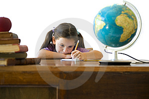 Girl pupil Stock Photo