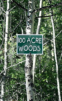 100 Acre Woods Sign Stock Photo - Image: 5708990
