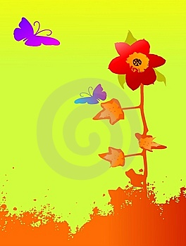 Grunge Abstract Floral Background With Butterflies Stock Image - Image: 5717721