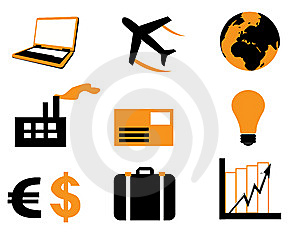 Banks And Business Icons Set Royalty Free Stock Photo - Image: 5724325