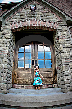 Child And Antique Door Royalty Free Stock Image - Image: 5730876