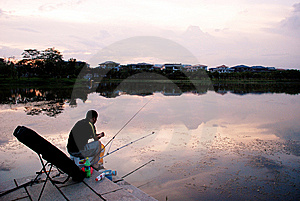 Angling In The Sunset Royalty Free Stock Photo - Image: 5732565