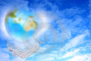 Planet And Hands Stock Images - Image: 5732604