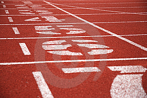Finish line of running tracks Royalty Free Stock Photo
