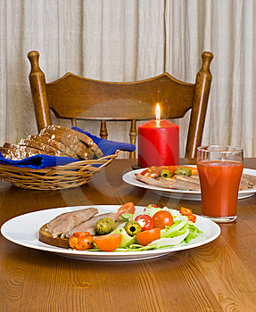 Served Table With Candle Royalty Free Stock Photos - Image: 5754818