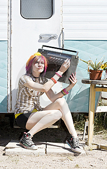 Girl Sitting On A Trailer Step Stock Photography - Image: 5774972