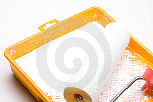 Paint roller and tray Stock Photography