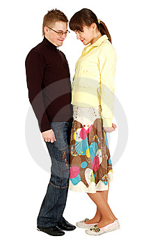 Young Guy And A Girl Looking At Each Other Eyes Royalty Free Stock Images - Image: 5779459