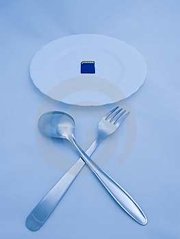 Digital Meal: Flash Card On Plate, Fork And Spoon Stock Images - Image: 5782514