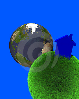 Blue House On Sphere Of Grass With Earth Royalty Free Stock Photography - Image: 5795177