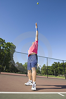 Man On Tennis Court Playing Tennis Royalty Free Stock Image - Image: 5800866