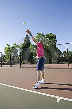 Man On Tennis Court Playing Tennis - Vertical Royalty Free Stock Photography - Image: 5800877