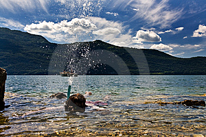 Snorkeling In Lake Stock Photos - Image: 5803203
