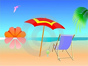 Summer Beach Scene Royalty Free Stock Photos - Image: 5808838