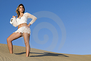 Woman In A Dune In The Afternoon Stock Photo - Image: 5809730