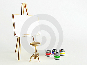 Easel and paints Stock Photography