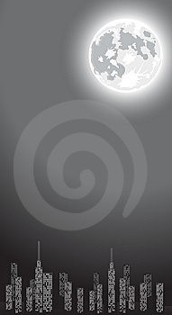 Vector Illustration Of Night City With Copy-space Royalty Free Stock Photography - Image: 5816167