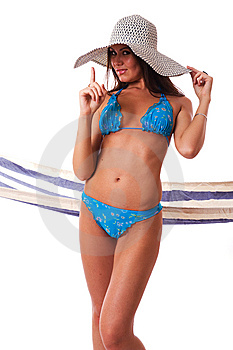 Sexy Girl Wearing Bikini With Summer Hat. Stock Photography - Image: 5818832