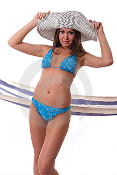 Sexy Woman Wearing Bikini With Summer Hat Royalty Free Stock Photography - Image: 5818877