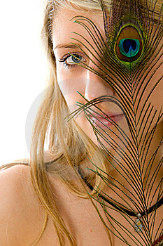 Beautiful Girl, Peacock A Feather Closes Eye Royalty Free Stock Image - Image: 5819896