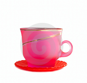 Pink Cup Isolated On White Stock Images - Image: 5822664
