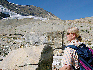 Woman Walking In The Rocky Mountains Royalty Free Stock Image - Image: 5823696