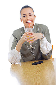 Cheerful Businesswoman Drinking Juice Stock Images - Image: 5827074