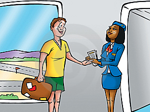 Boarding An Airplane Royalty Free Stock Images - Image: 5830449
