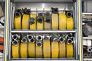 Back Of A Firetruck With Hoses Stock Image - Image: 5834071