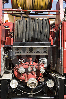 Firetruck With Hoses In The Back Royalty Free Stock Images - Image: 5834349
